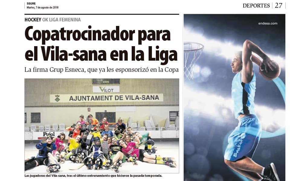Grupo Esneca es el nuevo copatrocinador de hockey femenino del equipo Vila-sana